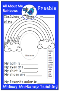 colors of the rainbow worksheet. this is called \u201cthe colors of me\u201d because it\u0027s all about the individual student. everyone\u0027s rainbow will be different we are different; worksheet