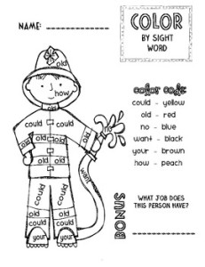 i made this little firefighter color by sight word activity for our community helpers unit my kids love these and its a great way to reinforce basic sight - Firefighter Coloring Book