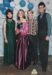 Aunty Triena, Me, Brendan and Dad at my Matric Farewell (Snr Prom) in 1999. (Dad dressed to match my dress)