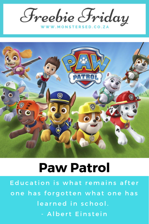 Freebie Friday - Paw Patrol printables